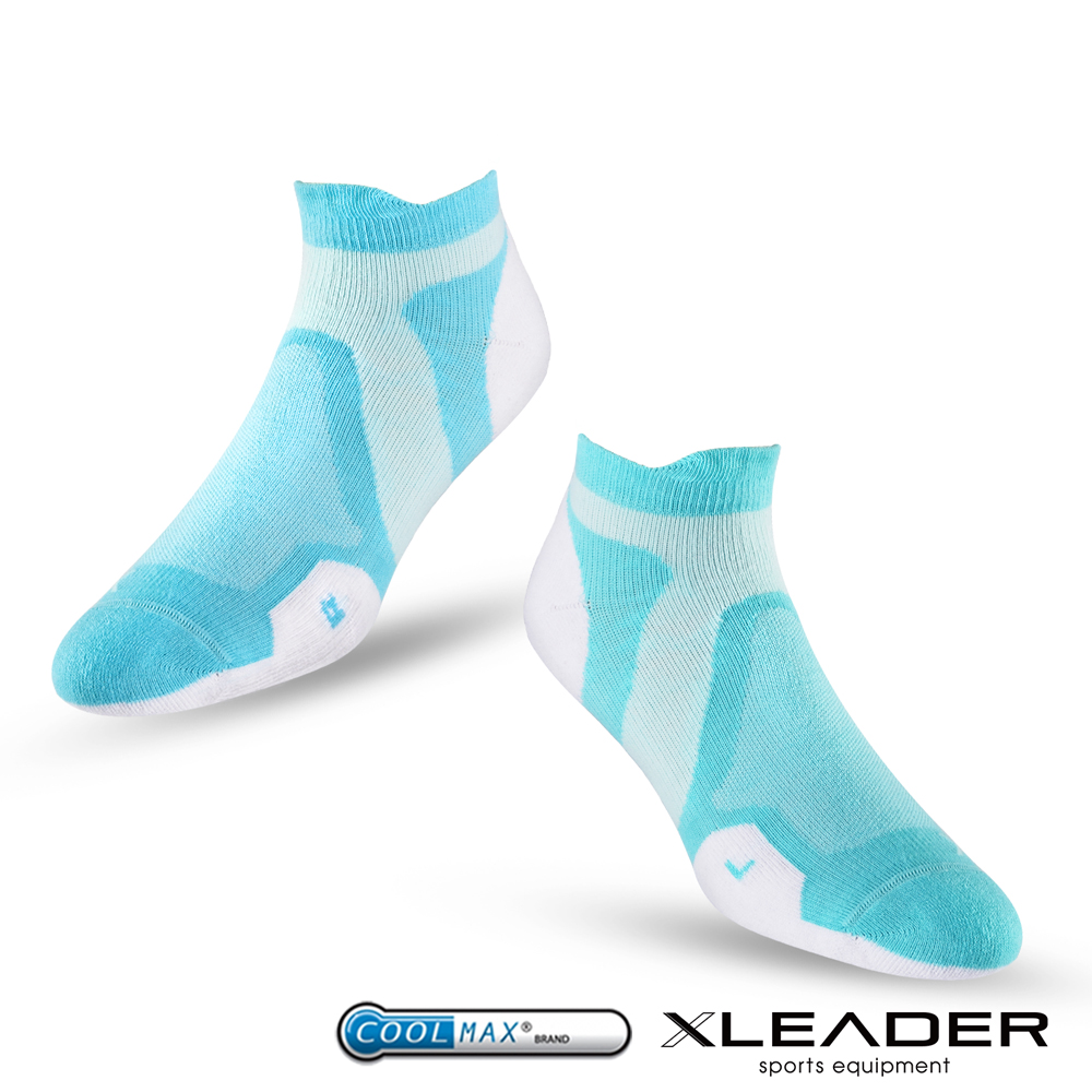 LEADER ST-02 X型繃帶加厚耐磨避震短襪除臭運動襪 女款 白綠 - 急