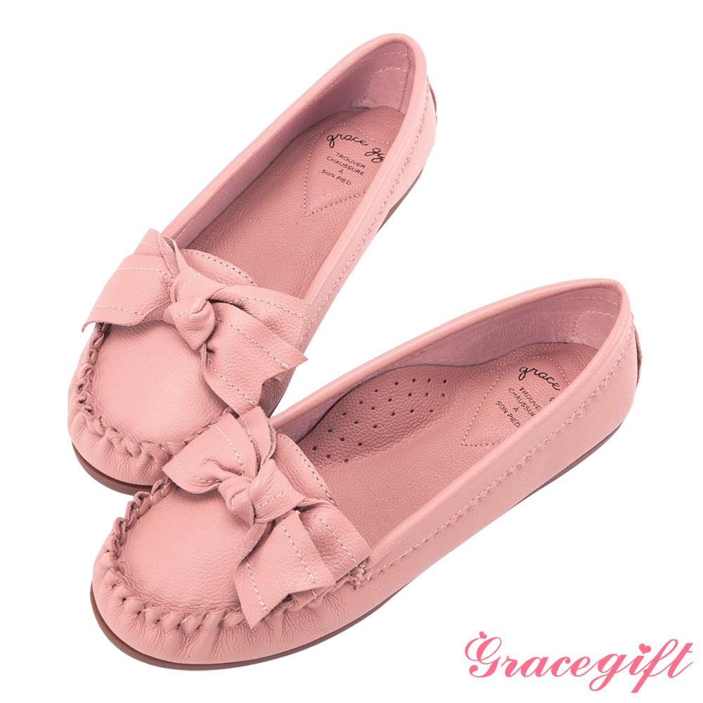 Grace gift-全真皮蝴蝶結豆豆底莫卡辛鞋 粉