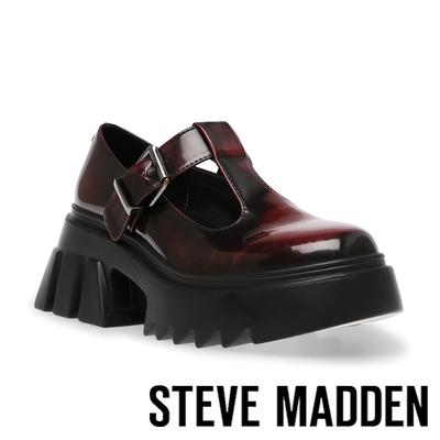 STEVE MADDEN-HAIZE 英倫風厚底樂福鞋-酒紅色
