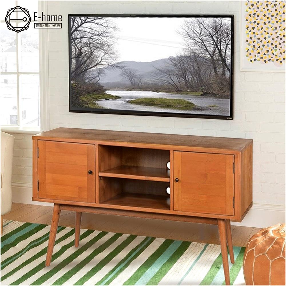 E-home Stin斯汀二空雙門全實木多媒體收納電視櫃-兩色可選 116x39x62