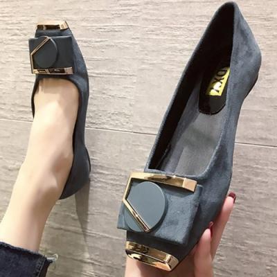 KEITH-WILL時尚鞋館 追加款戀愛魔鏡金扣平底鞋-藍