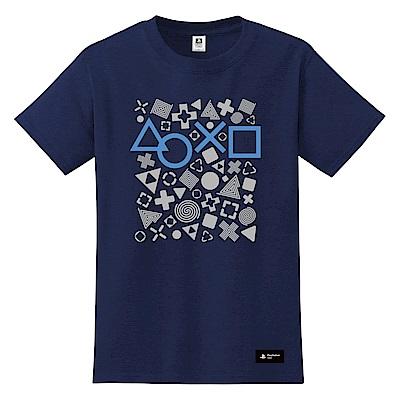 PlayStation 灰階幾何T恤-深藍