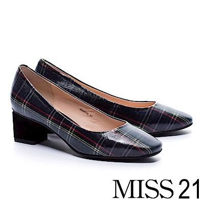 跟鞋MISS 21 復古淑女格紋布方頭高跟鞋-格紋 @ Y!購物