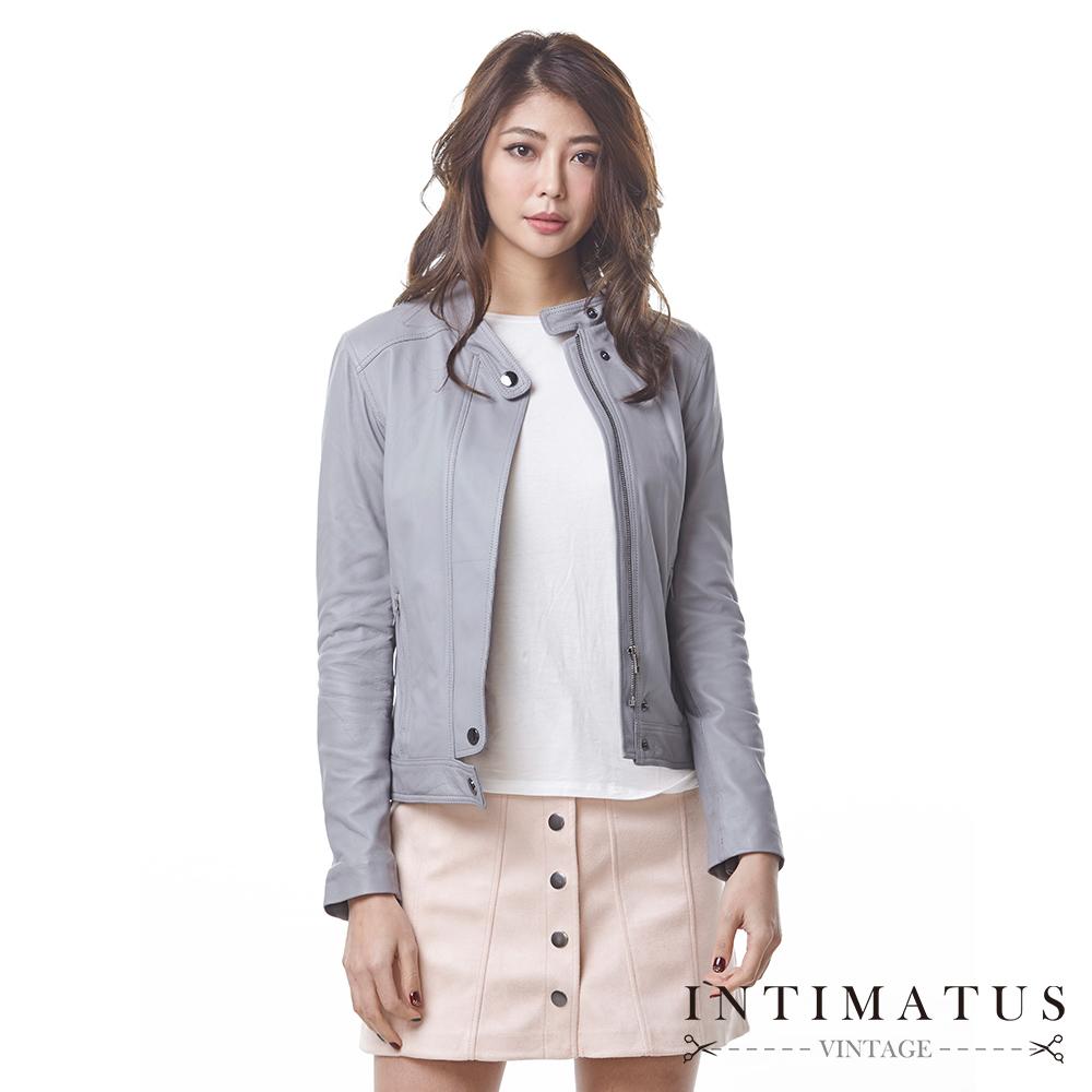 INTIMATUS 真皮 簡約風格立領頂級小羊皮皮衣 時尚淺灰