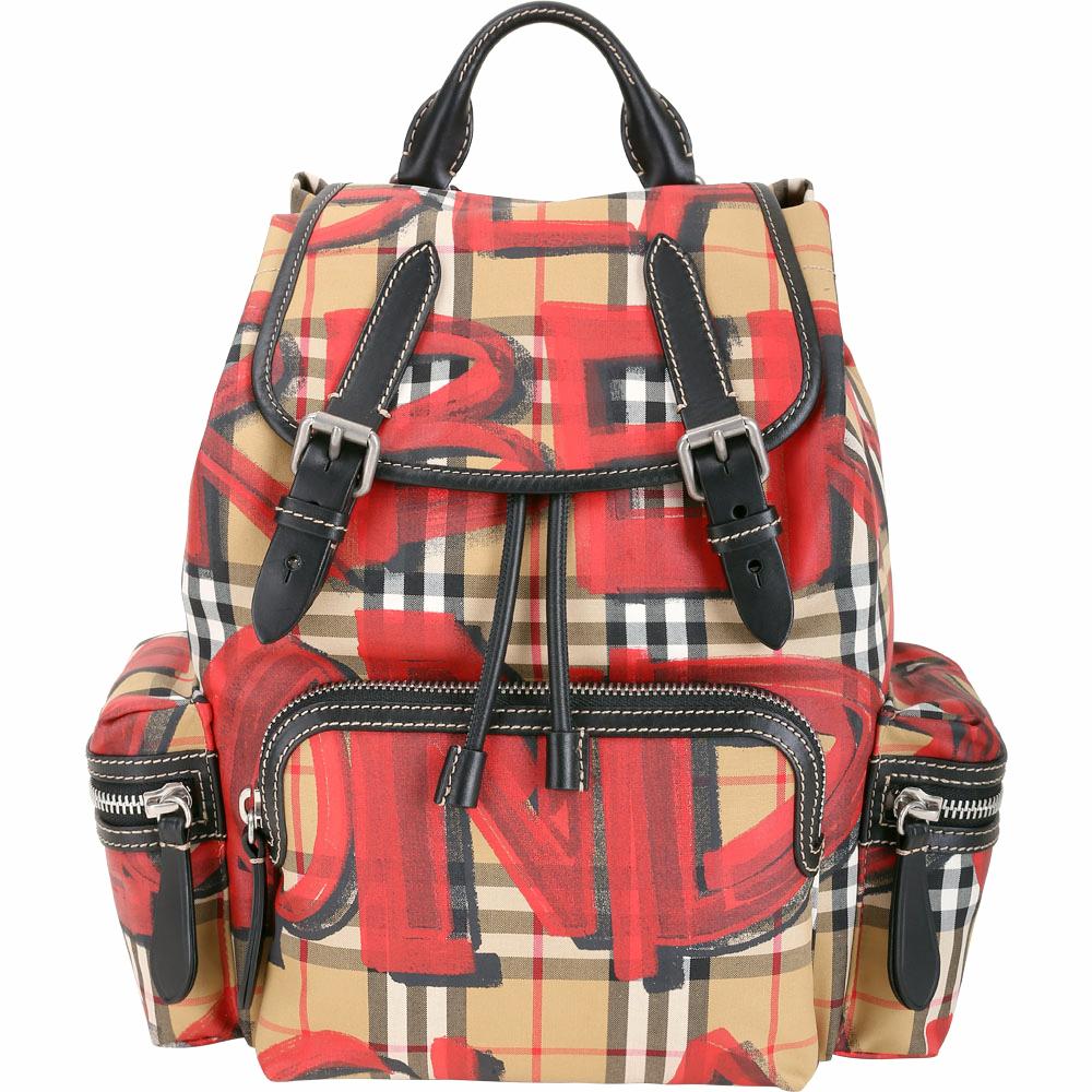 (無卡分期12期) BURBERRY The Rucksack 中型紅色塗鴉格紋軍旅後背包