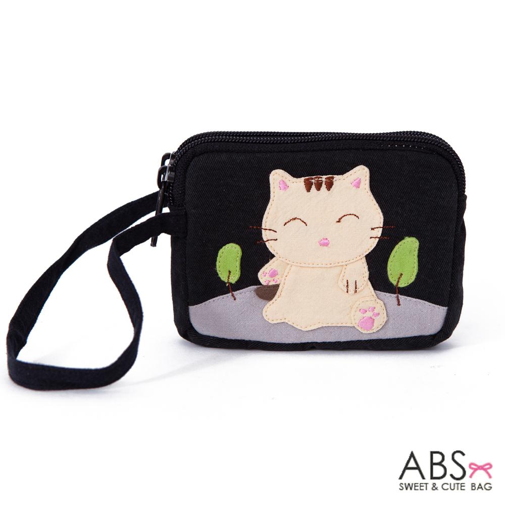 ABS貝斯貓 可愛貓咪拼布雙層拉鍊零錢包(個性黑)88-153