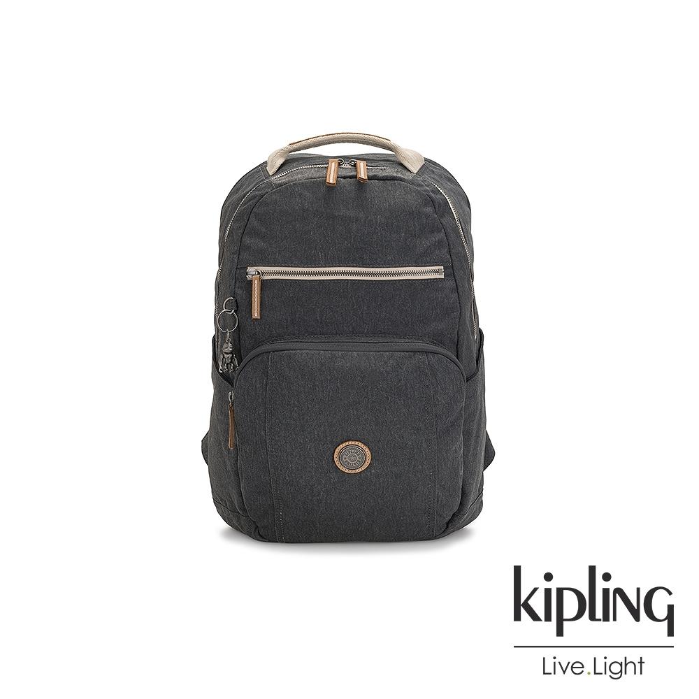 Kipling 邊緣地帶系列城市探索霧灰前後雙層收納後背包-TROY