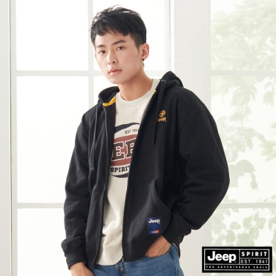 Jeep 男裝 休閒保暖抽繩連帽外套-黑色