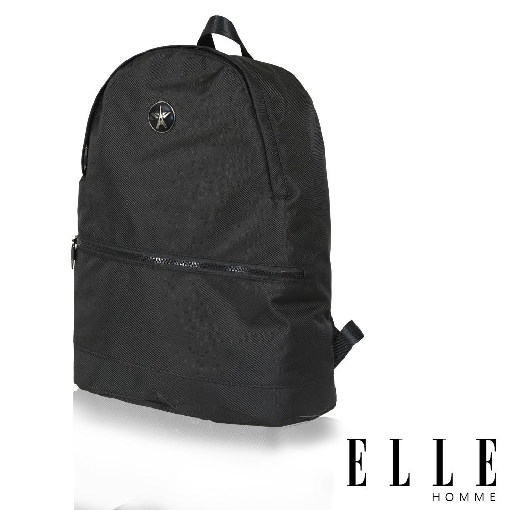 福利品 ELLE 巴黎輕旅商務基本款後背包- 黑色