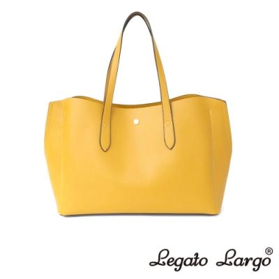 Legato Largo 驚異的輕量化 小法式輕便簡約 流線型剪裁手提袋 芥末黃