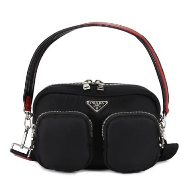 PRADA Nylon Cargo 尼龍雙口袋三角LOGO 肩背斜背包(黑/紅)