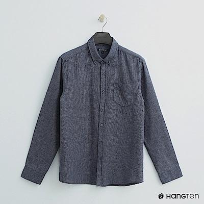 Hang Ten - 男裝 - 單口袋混色純棉襯衫 - 藍