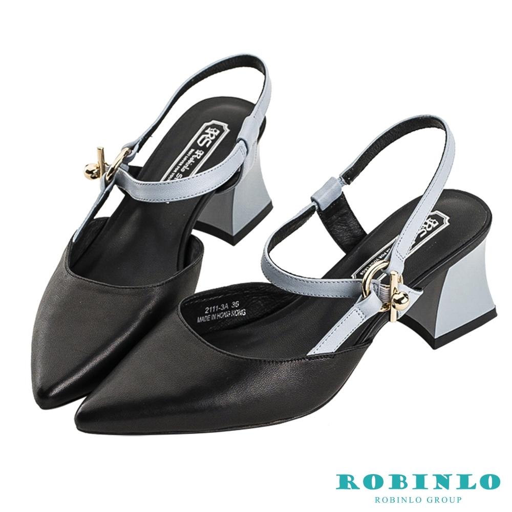 Robinlo粉彩撞色尖頭細帶低跟涼鞋 黑色