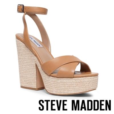 STEVE MADDEN-JINA 清涼美型 麻花編織繫帶粗跟厚底涼鞋-編織棕