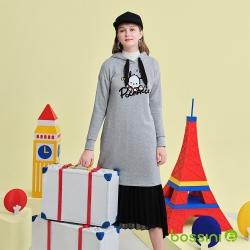 bossini女裝-帕恰狗圖案連帽長版厚棉T恤灰
