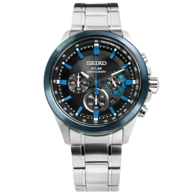 SEIKO 精工 太陽能 藍寶石水晶 計時 防水100米 不鏽鋼手錶-黑藍色/43mm