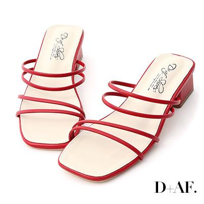 D+AF 清新優雅.二穿法細帶方頭低跟涼鞋*紅