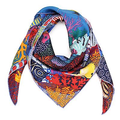 HERMES 海底世界 真絲披肩方型絲巾-藍色
