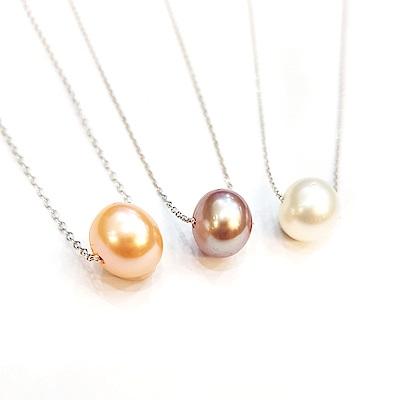Hera 赫拉 925純銀天然珍珠項鍊-3色