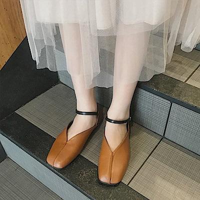 韓國KW美鞋館 韓式名媛甜美名媛平底鞋-棕色
