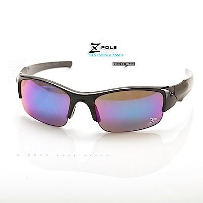 【Z-POLS】兒童專用烤漆質感黑 防爆安全電鍍七彩PC運動太陽眼鏡