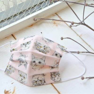 TEMARIYA 日本製 可水洗手作立體口罩M(變裝喵喵)-粉紅喵