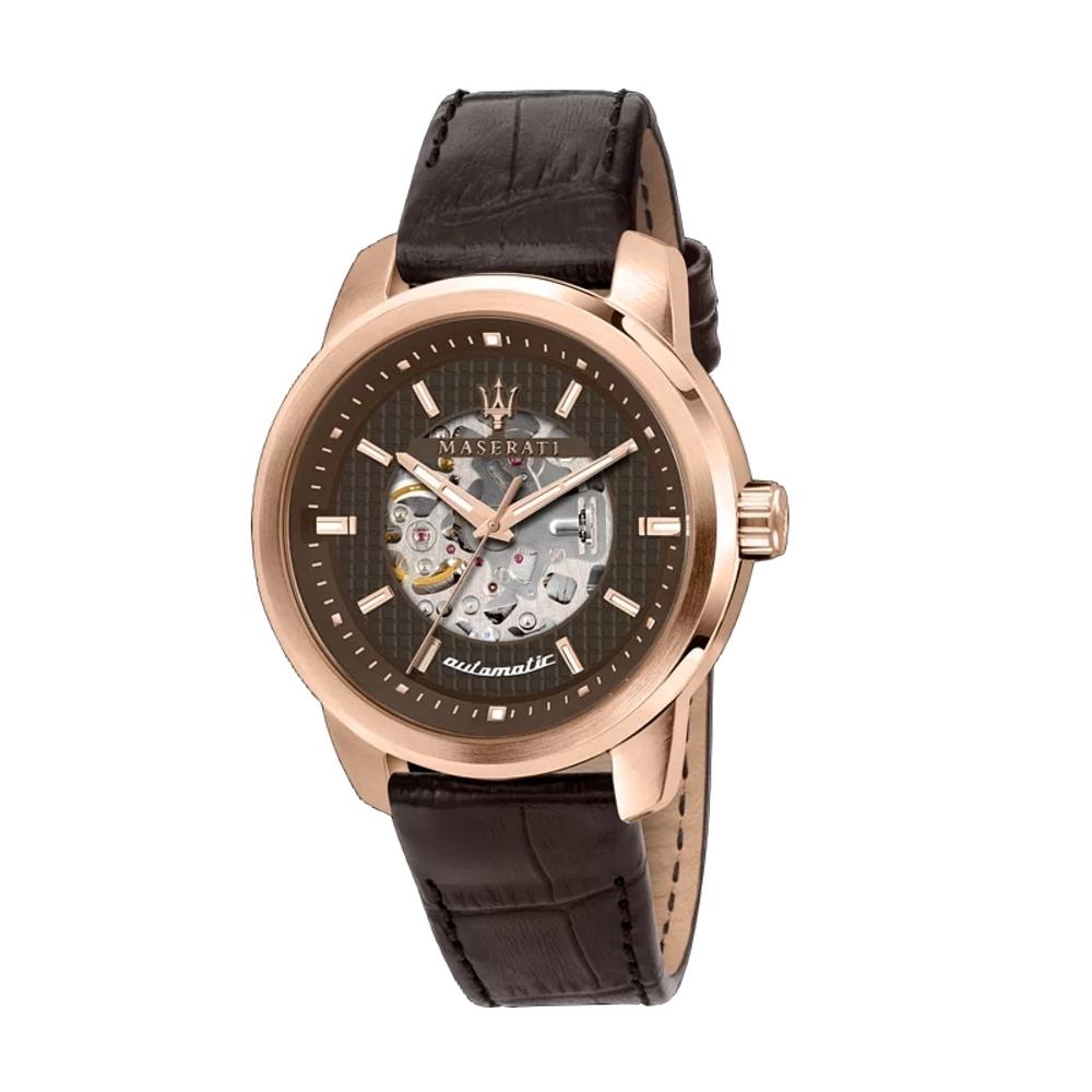 MASERATI 瑪莎拉蒂SUCCESSO鏤空玫瑰金咖啡色皮帶機械腕錶44mm(R8821121001)