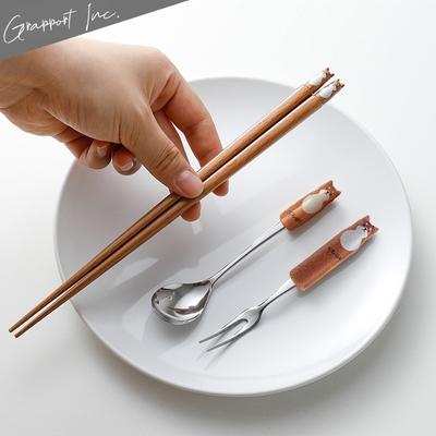 GRAPPORT 日本製Fluffy系列天然木筷子/湯匙/叉子3件組-柴犬款