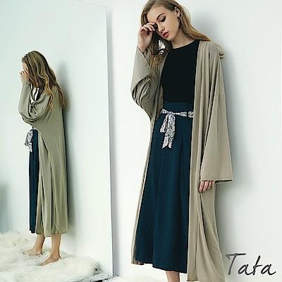 素色寬袖長版外套 TATA