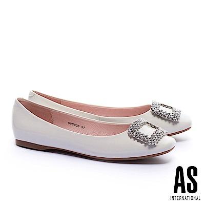 平底鞋 AS 晶鑽方釦超軟牛漆皮方頭平底鞋-白