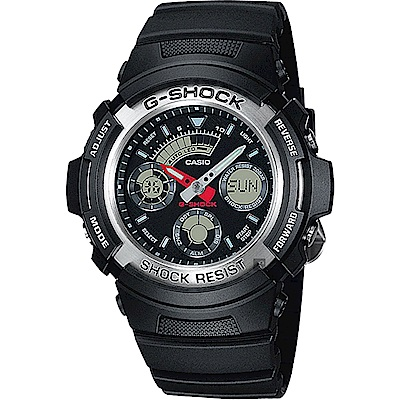 CASIO 卡西歐 G-SHOCK 摩托車雙顯手錶 AW-590-1A
