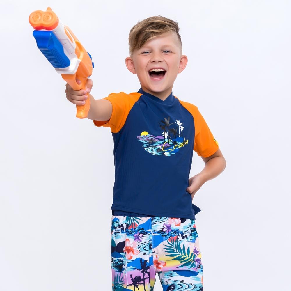 澳洲Sunseeker泳裝抗UV防曬短袖泳衣-大男童上衣/橘4181015ORA