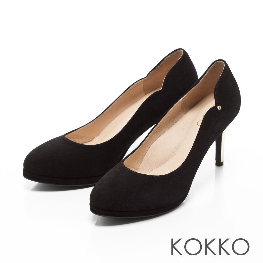 KOKKO絕美風姿鑽飾曲線優雅高跟鞋性感黑