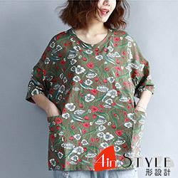 復古立體花樣印花寬鬆T恤 (綠色)-4inSTYLE形設計