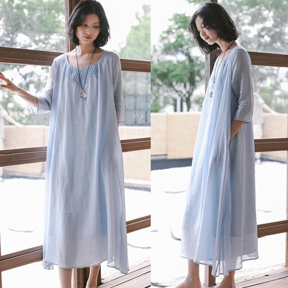 洋裝-100支高端苧麻重磅刺繡棉麻寬鬆長裙-設計所在