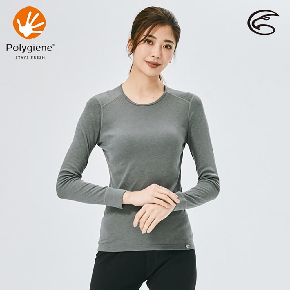 ADISI 女圓領抑菌消臭抗靜電保暖衣AU2021004 / 暗灰色
