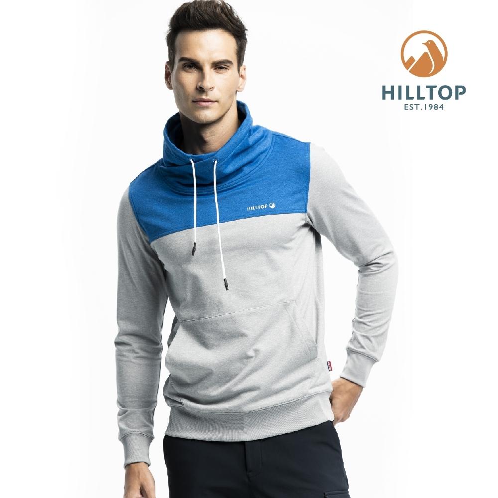 【hilltop山頂鳥】男款吸濕快乾彈性抗菌刷毛保暖上衣H51MI5淺灰