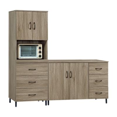 Bernice-森司6尺工業風餐櫃組合-2尺電器櫃+4尺碗盤櫃-180x40x175cm