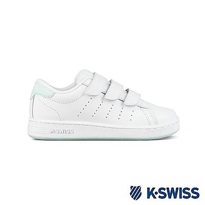 K-SWISS Clean Court 3-Strap休閒運動鞋-童-白/薄荷綠