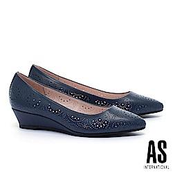 低跟鞋 AS 細緻沖孔造型羊皮尖頭楔型低跟鞋-藍