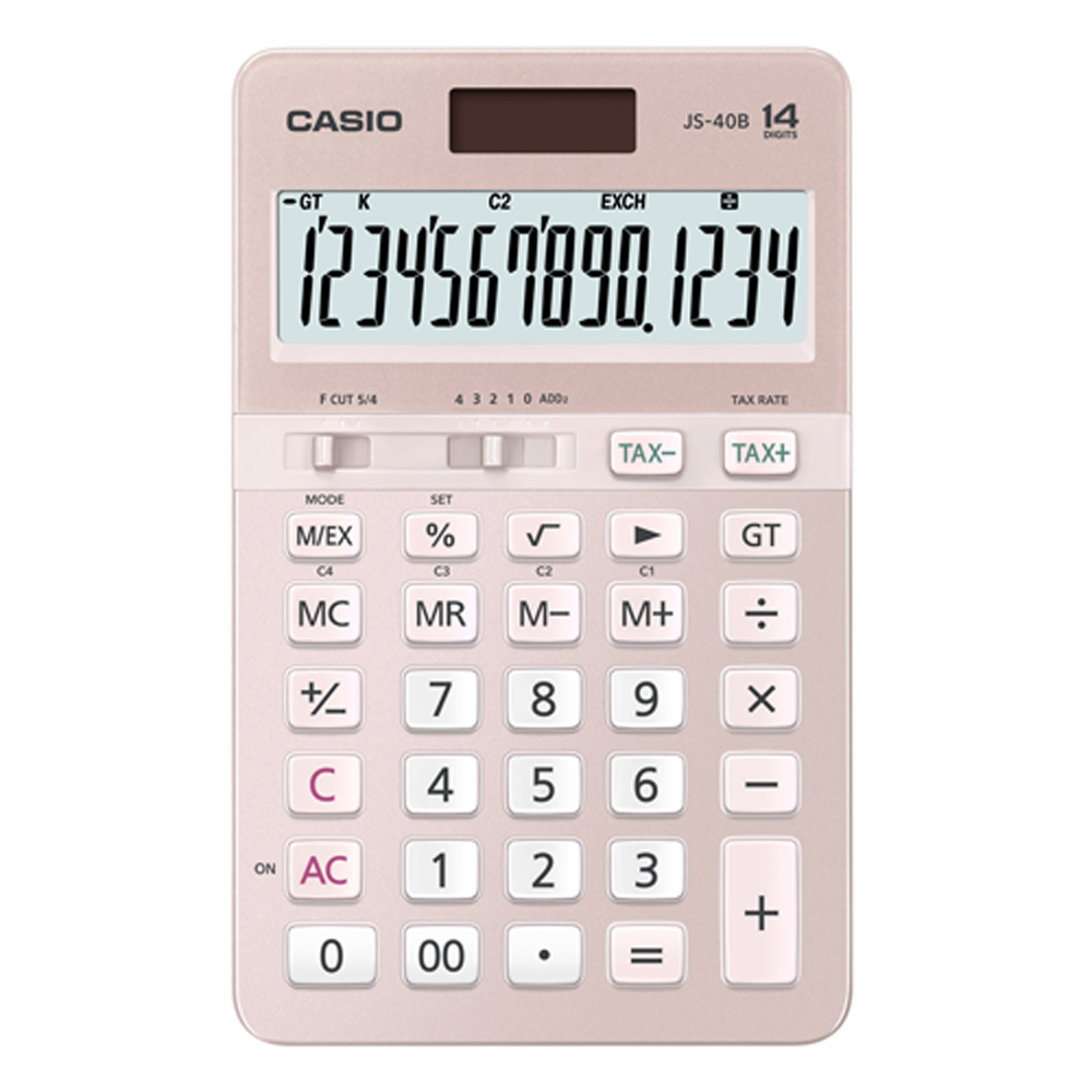 CASIO 14位元浪漫粉嫩櫻花色系桌上型計算機-(JS-40B-PK)