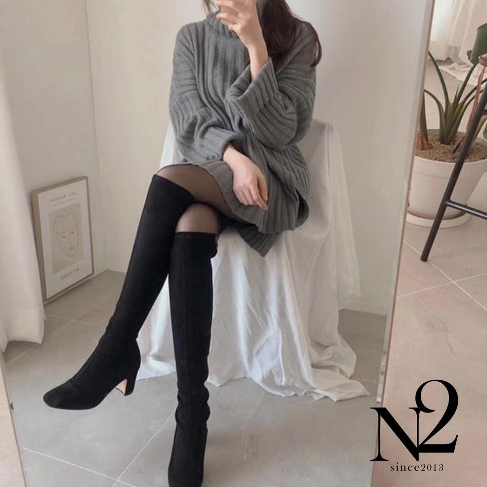 上衣 正韓高領反折設計前短後長粗針織毛衣(灰)N2