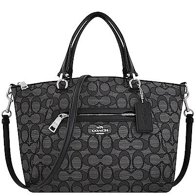 COACH 專櫃款黑色大C織紋手提/斜背兩用包