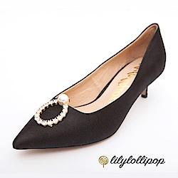 Lilylollipop-Luxury 珍珠環緞面跟鞋--黑色