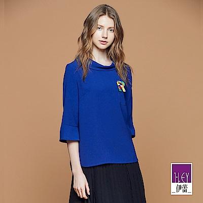 ILEY伊蕾 時尚翻領裝飾貼繡上衣(藍)