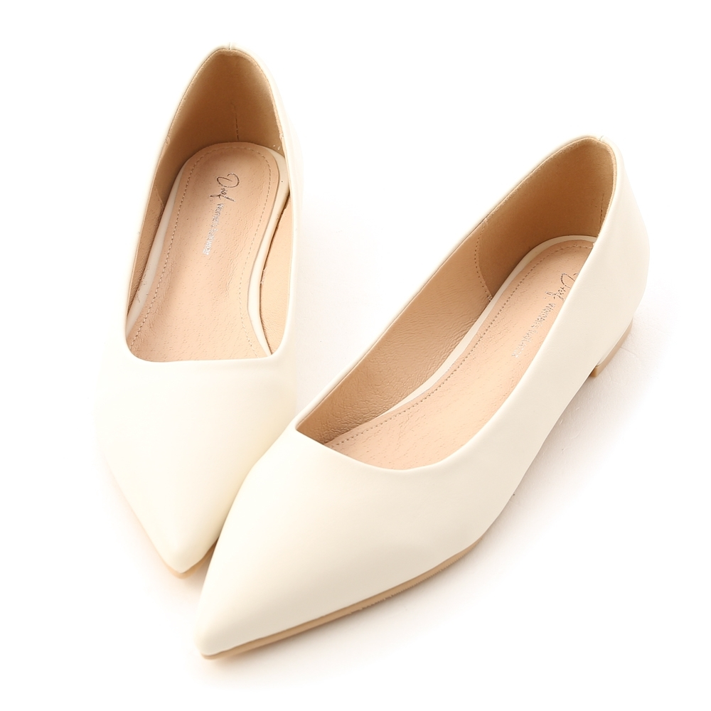 D+AF 典雅氛圍.韓風素面低跟尖頭鞋*白
