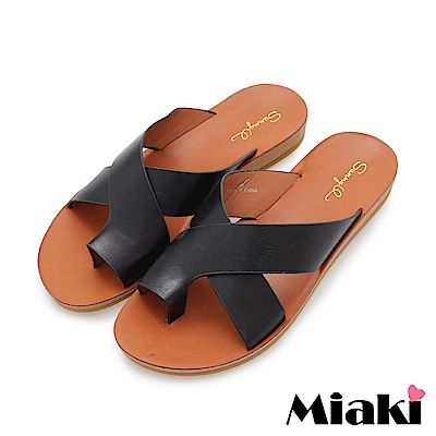 Miaki-輕便時尚平底拖鞋-黑色