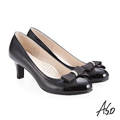 A.S.O 義式簡約 水鑽織帶蝴蝶結高跟鞋 黑