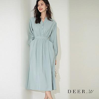 DEER.W 開襟立領雙口袋繫帶洋裝 三色