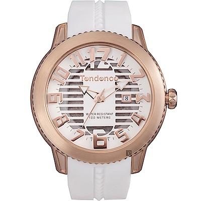Tendence 天勢 圓弧系列透視手錶-玫瑰金框x黑/47mm(TY013001)